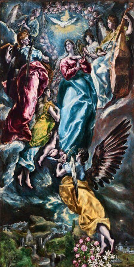 El Greco, Unbefleckte Empfängnis (Inmaculada Oballe), 1608–1613, Öl auf Leinwand, 348 × 174,5 cm. Signiert (Eigentum der Parroquia de San Nicolás de Bari – Arzobispado de Toledo (als Dauerleihgabe im Museo de Santa Cruz, Toledo))