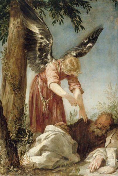 Juan Antonio de Frías y Escalante, Der Engel weckt den Propheten Elias in der Wüste, um 1665–1669, Öl auf Pinienholz, 50,1 × 33,8 cm (Gemäldegalerie, Staatliche Museen zu Berlin, Inv.-Nr. 380B)