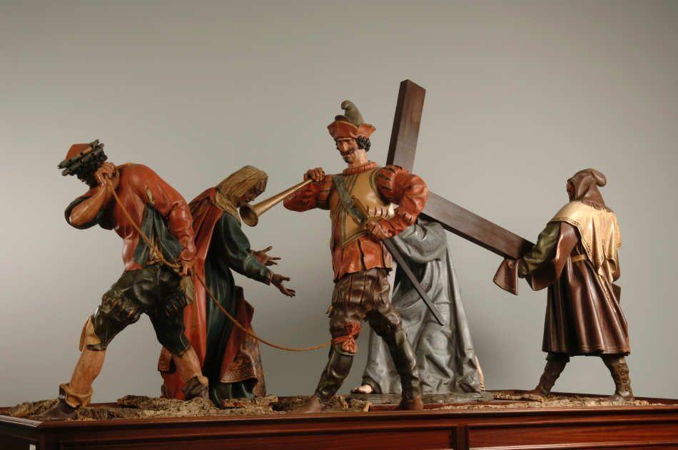 Gregorio Fernández, Simon von Cyrene, Veronika und Peiniger, Holz, polychromiert (Museo Nacional de Escultura, Valladolid)