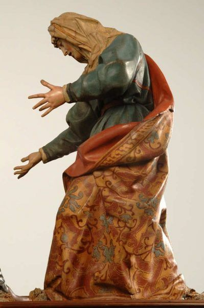 Gregorio Fernández, Simon von Cyrene, Veronika und Peiniger; Pedro de la Cuadra, Christus, um 1610 mit späteren Änderungen, Holz, polychromiert (Museo Nacional de Escultura, Valladolid)