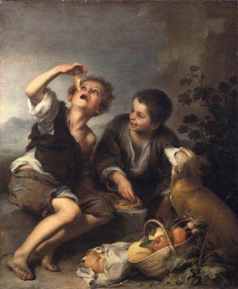 Bartolomé Esteban Murillo, Die Pastetenesser, um 1675–1680, Öl auf Leinwand, 123,6 × 102 cm (Bayerische Staatsgemäldesammlungen – Alte Pinakothek, Inv.-Nr. 487)