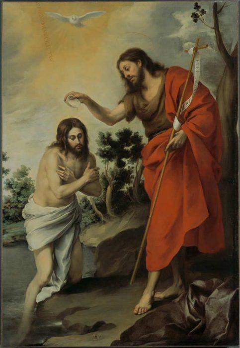 Bartolomé Esteban Murillo, Taufe Christi, um 1655, Öl auf Leinwand, 233 × 160 cm (Gemäldegalerie, Staatliche Museen zu Berlin, Inv.-Nr. 68.2)