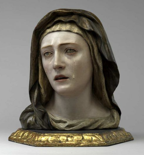 Pedro Roldán, Mater Dolorosa, um 1670, Holz, ursprüngliche Fassung, 37 × 35 × 24 cm (Skulpturensammlung und Museum für Byzantinische Kunst, Staatliche Museen zu Berlin, Inv.-Nr. 353)