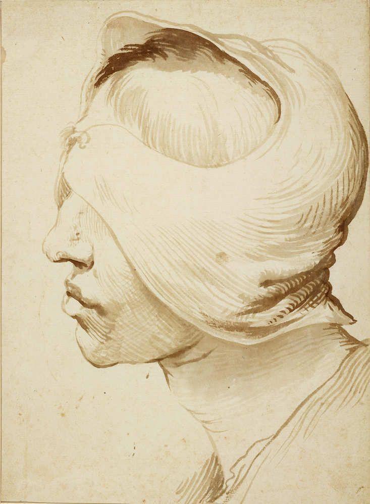Jusepe de Ribera, Kopf eines Jünglings mit verbundenen Augen, um 1630–1640, Pinsel und Feder in zwei Brauntönen, 24,3 × 17,9 cm (Kupferstichkabinett, Staatliche Museen zu Berlin, Inv.-Nr. KdZ 20821)