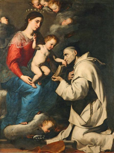 Jusepe de Ribera, Madonna mit Kind und dem heiligen Bruno, 1624, Öl auf Leinwand, 205 x 153,6 cm, signiert und datiert (Gemäldegalerie, Staatliche Museen zu Berlin, Inv.-Nr. 2011.1)