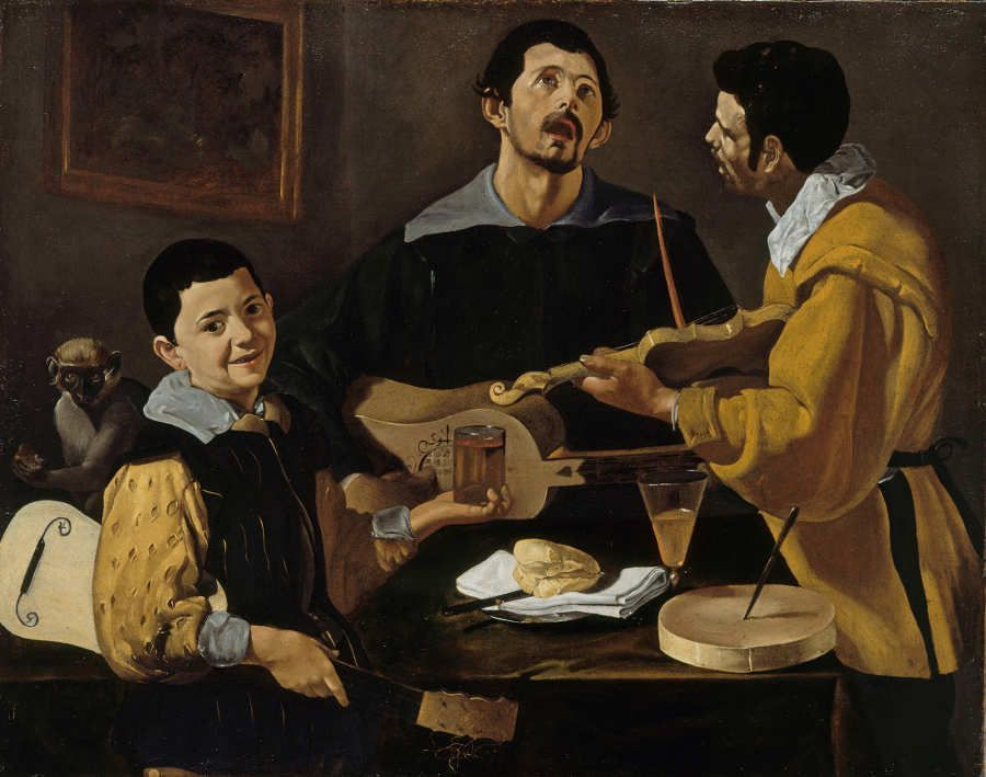 Diego Rodríguez de Silva y Velázquez, Drei Musikanten, um 1616–1618, Öl auf Leinwand, 90,4 × 113,2 cm (Gemäldegalerie, Staatliche Museen zu Berlin, Berlin, Inv.-Nr. 413F)