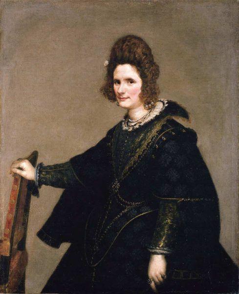 Diego Rodríguez de Silva y Velázquez, Bildnis einer Dame (Condesa de Monterrey), um 1631–1640, Öl auf Leinwand, 123,7 × 101,7 cm (Gemäldegalerie, Staatliche Museen zu Berlin, Inv.-Nr. 413E)