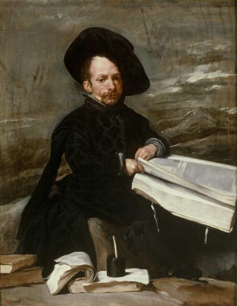 Diego Rodríguez de Silva y Velázquez, Hofnarr mit Buch auf den Knien, 1636–1638, Öl auf Leinwand, 107 × 82 cm m (Museo Nacional del Prado. Madrid, Inv.-Nr. P 1201)