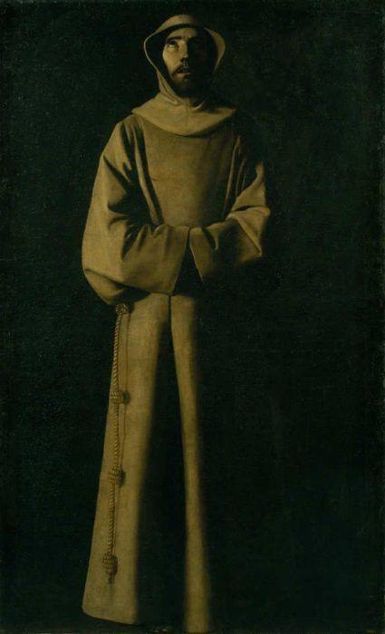 Francisco de Zurbarán, Der heilige Franziskus von Assisi nach der Vision von Papst Nikolaus V., um 1640, Öl auf Leinwand, 180,5 × 110,5 cm (Museu Nacional d'Art de Catalunya, Barcelona, Inv.-Nr. mnAC/mAC 11528)