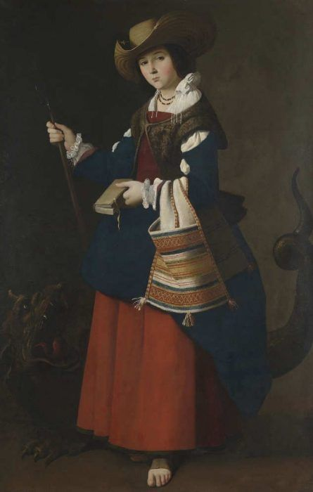 Francisco de Zurbarán, Die heilige Margareta von Antiochien, um 1630–1634, Öl auf Leinwand, 163 × 105 cm (London, The National Gallery of Art, NG 193)