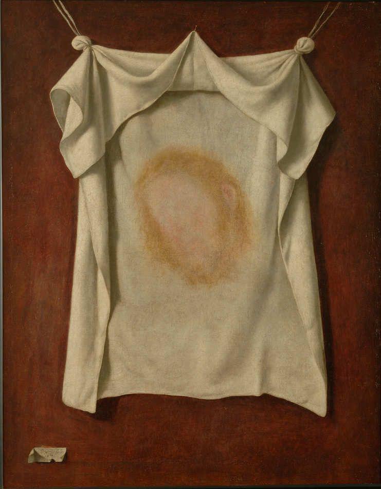 Francisco de Zurbarán, Das Schweißtuch der Heiligen Veronika, 1658, Öl auf Leinwand, 105 × 83,5 cm. Signiert und datiert unten links: Fran de zurbaran. /1658 (© Museo Nacional de Escultura)