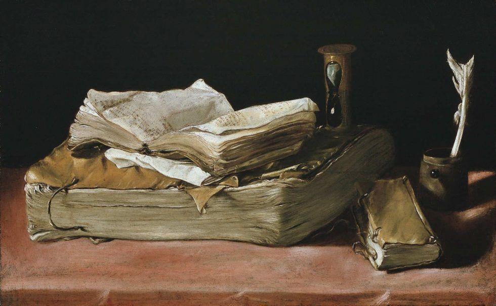 Unbekannter Künstler (Madrilenisch?), Bücherstilleben, um 1630–1640, Öl auf Leinwand, 34,9 × 56,8 cm (Gemäldegalerie, Staatliche Museen zu Berlin, Inv.-Nr. 1667)