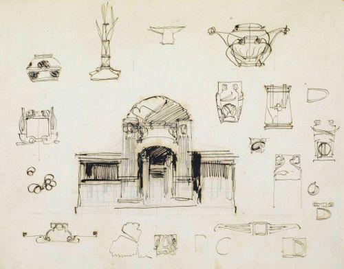 Joseph Maria Olbrich, Entwurfsskizzen zur Secession, 1897, Archiv der Secession.