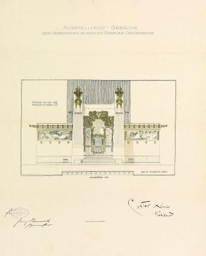 Joseph Maria Olbrich, Erster Entwurf Hauptfassade, 1897, Archiv der Secession.