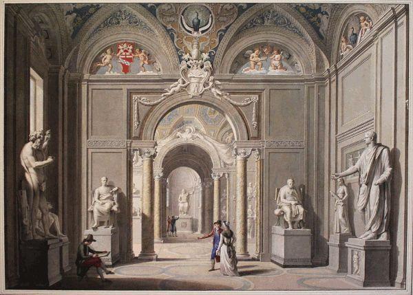 Giovanni Francesco Costa, Statuen-Galerie im Museo Pio Clementino, o.D., Albertina, Wien, Foto: Alexandra Matzner.