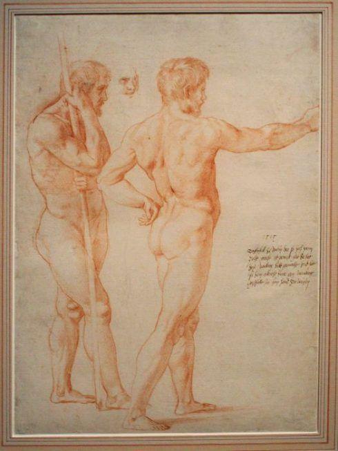Raffael (Raffaello Santi), Zwei Männerakte, 1515, aus dem Vorbesitz Albrecht Dürer, 1796 durch Herzog Albert von Sachsen-Teschen erworben, Albertina, Wien, Foto: Alexandra Matzner.