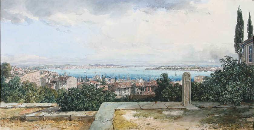 Thomas Ender, Konstantinopel vom Derwisch-Kloster gesehen, 1837, Privatbesitz.