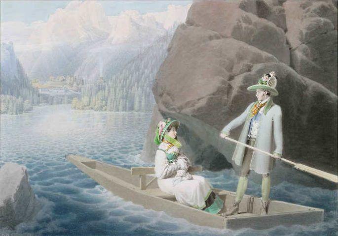 Matthäus Loder, Erzherzog Johann und Anna Plochl im Boot (I.), um 1824-25, Privatbesitz.
