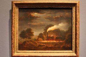 J. Baumhauer, Eisenbahn bei Nacht (Nächtliche Fahrt der ›Adler‹), 1838, Öl auf Holz, 26 x 32,5 cm, Foto: Alexandra Matzner © Letter Stiftung, Köln