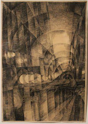 Erika Giovanna Klien, Subway, um 1932, Bleistift und schwarze Kreide auf Papier, 51 x 35,5 cm (Privatbesitz, Wien), Foto: Alexandra Matzner © Belvedere, Wien