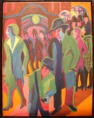 Ernst Ludwig Kirchner, Straße mit Passanten bei Nachtbeleuchtung, 1926/27, Öl auf Leinwand, 90,3 x 70,4 cm (© Museum Frieder Burda, Baden-Baden; Foto: Alexandra Matzner, ARTinWORDS).