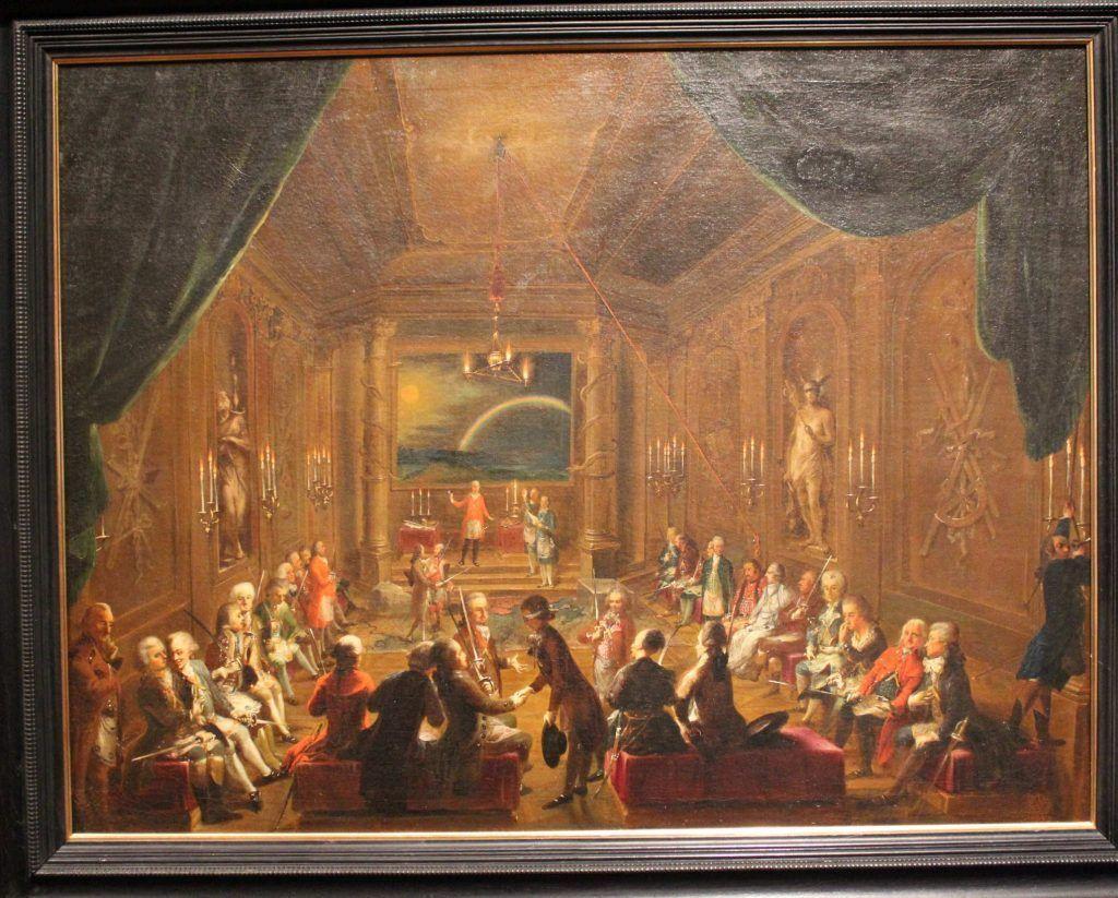 Ignaz Unterberger, Innenansicht einer Wiener Freimaurerloge, um 1785 (Wien Museum)