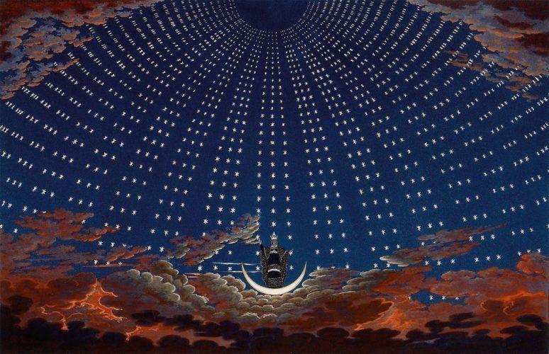 Karl Friedrich Schinkel, Die Zauberflöte. I. Akt, 6. Szene: Sternenhimmel, Thron der Königin der Nacht, 1819-24, Aquatinta und Radierung koloriert, Österreichisches Theatermuseum, Wien © Kunsthistorisches Museum Wien