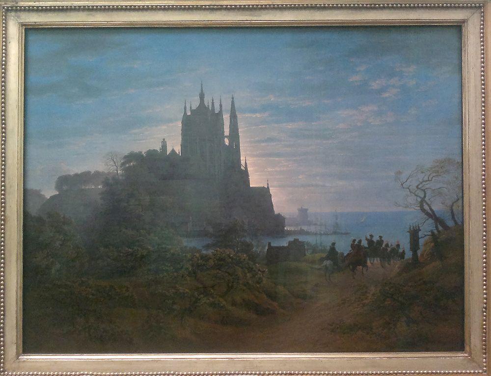 Karl Friedrich Schinkel, Gotische Kirche auf einem Felsen am Meer, 1815, Öl auf Leinwand, 72 x 98cm (Berlin, Nationalgalerie), Foto: Alexandra Matzner