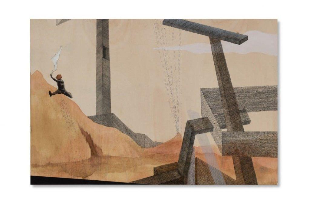 Larissa Leverenz, Sprung I, 2014, Zeichnung, Collage auf Pappelholz / Drawing, collage on poplar, 80 x 120 cm, Foto: Peter Hoiss, © Larissa Leverenz