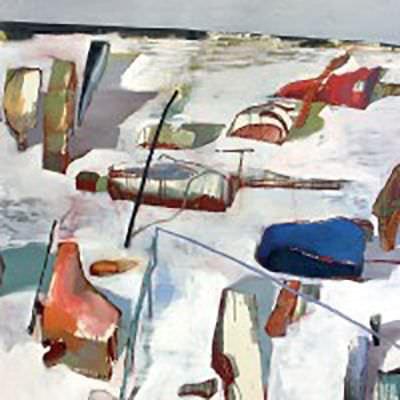Vika Prokopaviciute, Table, 2014, Öl und Ölkreide auf Leinwand / Oil and oil crayon on canvas, 180 x 200 cm, Foto und ©: Vika Prokopaviciute