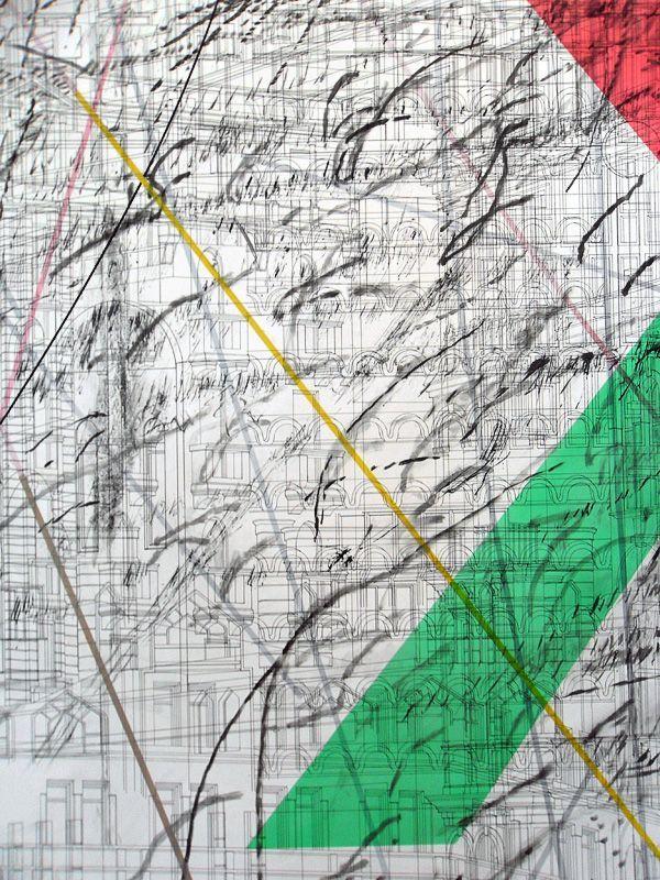 Julie Mehretu, Zeichnung, dOCUMENTA (13) 2012, Installationsfoto: Alexandra Matzner.