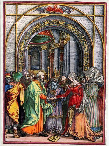 Albrecht Dürer, Marienleben, Verlobungs Mariens, Holzschnitt, altkoloriert, 359 x 250 mm, Schweinfurt, Sammlung-Otto-Schäfer-II, Foto: Alexandra Matzner.