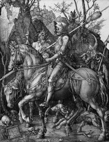 Albrecht Dürer, Der Reiter, 1513, Kupferstich, Städel Museum, Frankfurt am Main, Foto: Städel Museum – ARTOTHEK, 25,9 x 20cm.