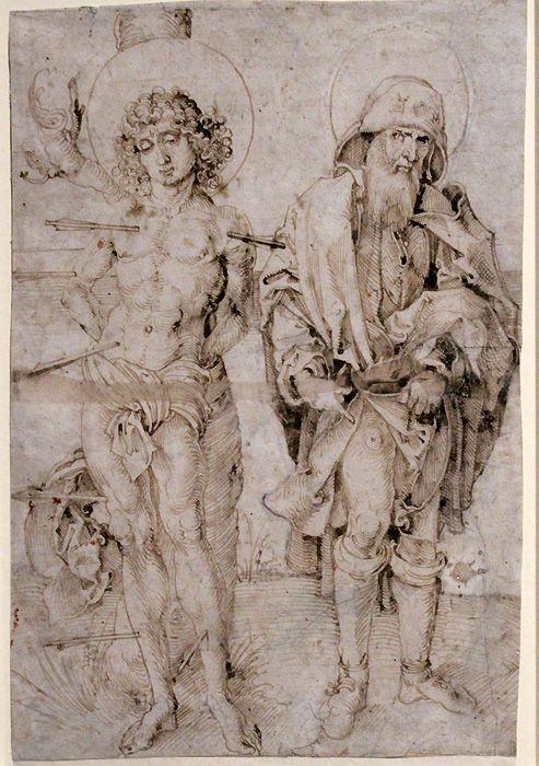 Albrecht Dürer (zg.), Die heiligen Sebastian und Rochus, um 1496 (?), Feder in Braun, 298 x 202 mm, Frankfurt am Main, Städel Museum, Graphische Sammlung, Foto: Alexandra Matzner.