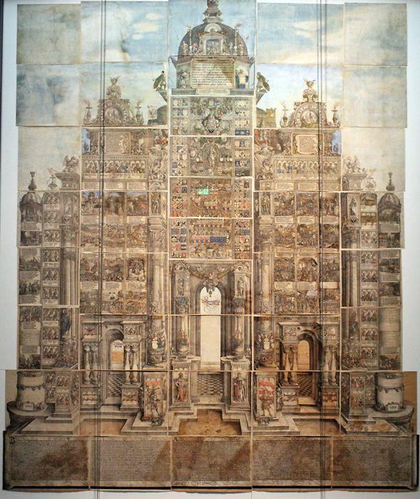 Albrecht Dürer, Die Ehrenpforte Kaiser Maximilians I., 1517/18, Holzschnitt, teilvergoldet und altkoloriert, ca. 3,5 x 3 m (Gesamtgröße), Braunschweig, Herzog Anton Ulrich-Museum, Foto: Alexandra Matzner.