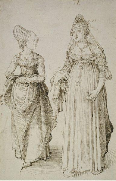 Albrecht Dürer, Nürnbergerin und Venezianerin, um 1495, Feder in dunklem Graubraun, Städel Museum, Frankfurt am Main, Foto: Städel Museum – ARTOTHEK, 24,5 x 15,9 cm