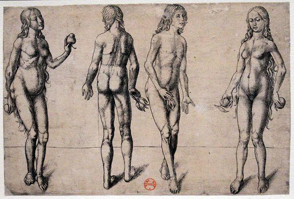 Meister PM, Zwei Studien für den Sündenfall, um 1480 –1490, Kupferstich, 139 x 209 mm, Paris, Bibliothèque nationale de France, Foto: Alexandra Matzner.