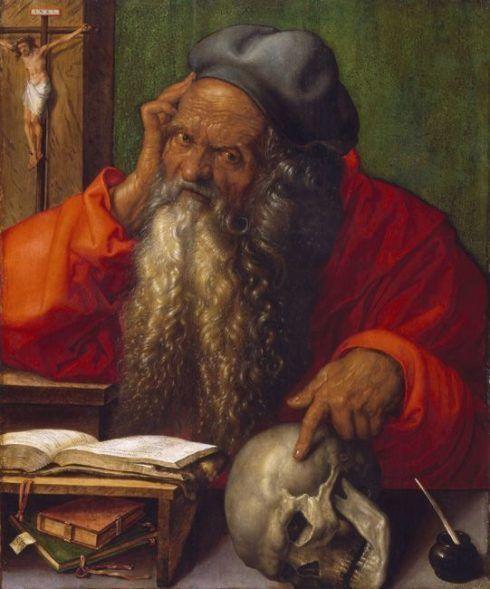 Albrecht Dürer, Hl. Hieronymus, 1521, Öl auf Holz, 59,5 × 48,5 cm (Museu Nacional de Arte Antiga, Lissabon, Foto: José Pessoa © Museu Nacional de Arte Antiga, Direção-Geral do Património Cultural /Arquivo e Documentação Fotográfica)