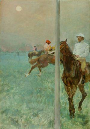 Edgar Degas, Jockeys vor dem Rennen, 1878/79, Öl, Essenz, Gouache und Pastell auf Papier, 107.3 x 73.7 cm (© The Barber Institute of Fine Arts, University of Birmingham)