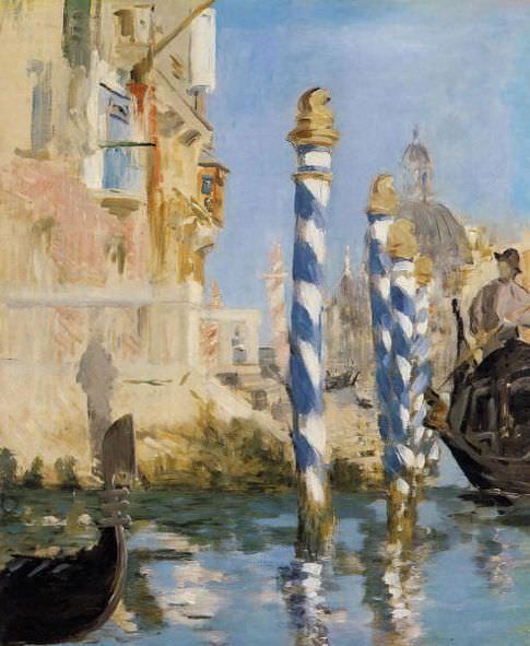 Édouard Manet, Canal Grande in Venedig, 1874 , Öl auf Leinwand, 57x48 cm, Privatsammlung.