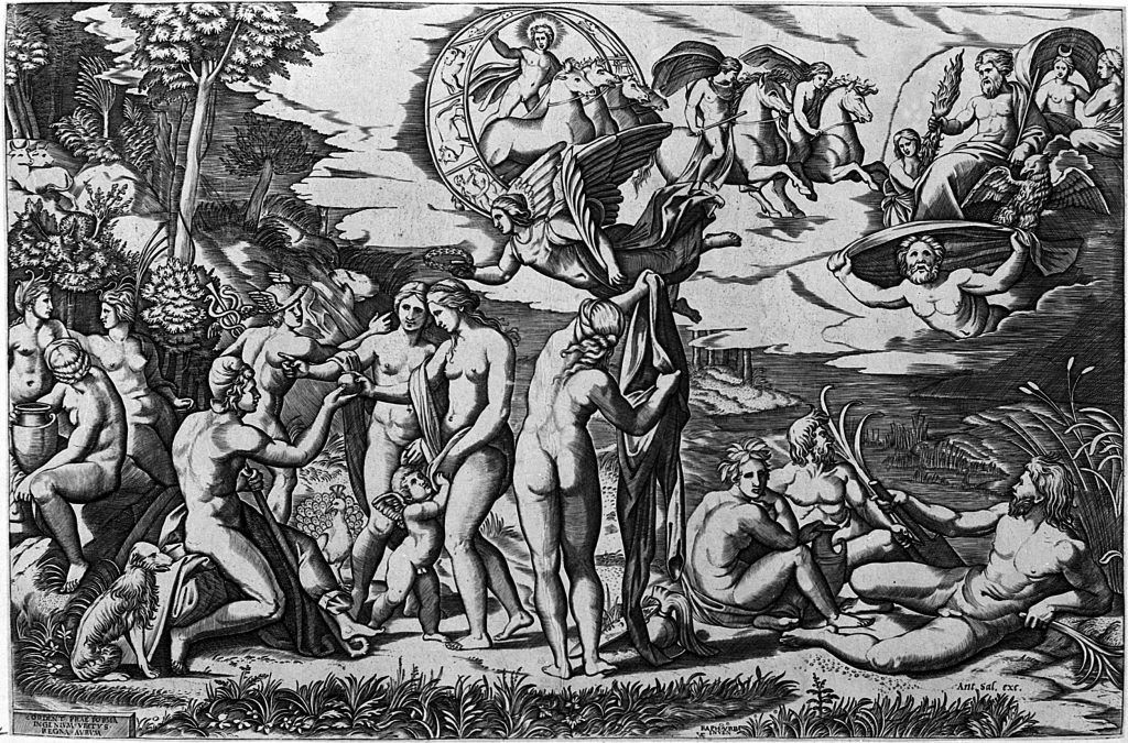 Marcantonio Raimondi (nach Raffael), Urteil des Paris, um 1517-1520, Kupferstich, 29,4x43,8 cm, Venedig, Museo Correr - Drawings and Prints Room.
