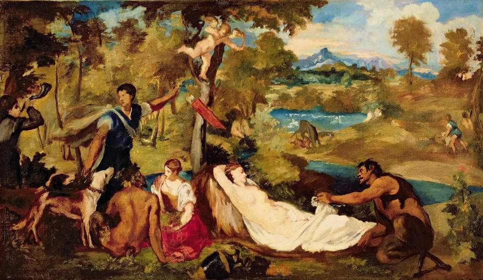 Édouard Manet (nach Tizian), Vénus du Pardo, um 1854, Öl auf Leinwand, 47x85 cm, Paris, Musée Marmottan.