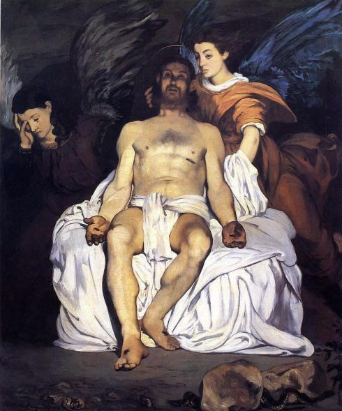 Édouard Manet, Toter Christus mit Engeln, um 1864, aquarellierte Zeichnung, 32,4x27 cm, Paris, Musée d'Orsay, Mme Zola gift to the state with right of usufruct, 1918 © RMN-Grand Palais (musée d'Orsay) / Thierry Le Mage.