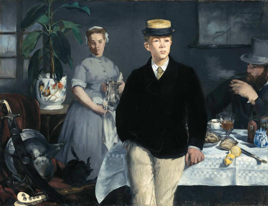 Edouard Manet, Le déjeuner dans l'atelier / Das Frühstück im Atelier, 1868, Öl auf Leinwand, 118,3 x 154 cm (Bayerische Staatsgemäldesammlungen München – Neue Pinakothek)