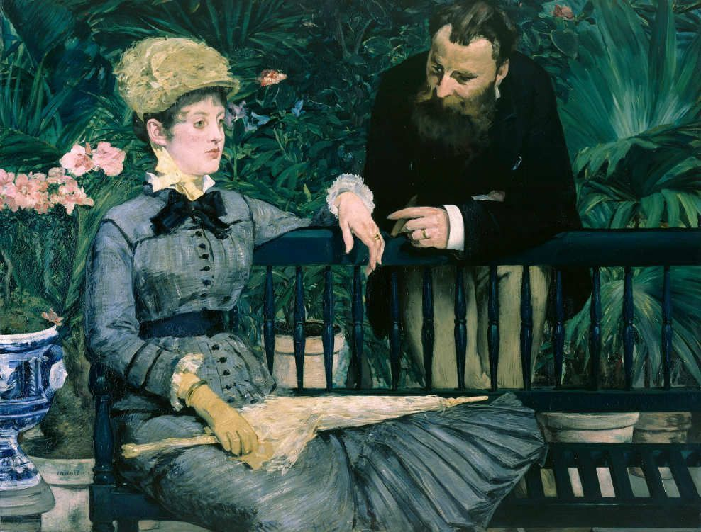 Edouard Manet, Dans la serre / Im Wintergarten, 1878/79, Öl auf Leinwand, 115 x 150 cm (Staatliche Museen zu Berlin, Nationalgalerie © bpk/Staatliche Museen zu Berlin, Foto: Jörg P. Anders)