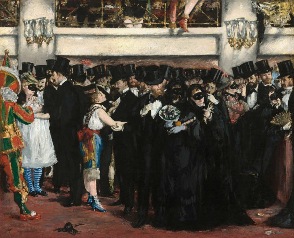 Edouard Manet, Bal masqué à l'opéra / Maskenball in der Oper, 1873, Öl auf Leinwand, 59,1 x 72,5 cm (National Gallery of Art, Washington, Gift of Mrs. Horace Havemeyer in memory of her mother-in-law, Louisine W. Havemeyer, 1982.75.1 © National Gallery of Art, Washington)