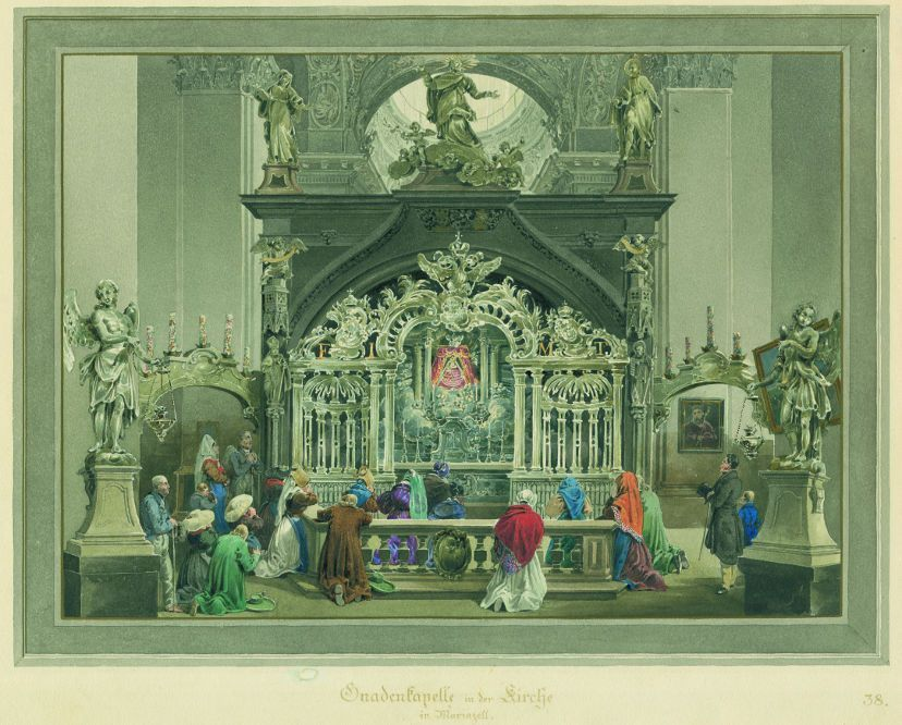 Eduard Gurk, Mahlerischen Reise von Wien nach Maria Zell, Blatt 38, Mariazell Gnadenkapelle 1833, Aquarell, 32,5 x 42,5 cm, Inv. Nr. 6536-38, Repro Kathirn Kratzer.