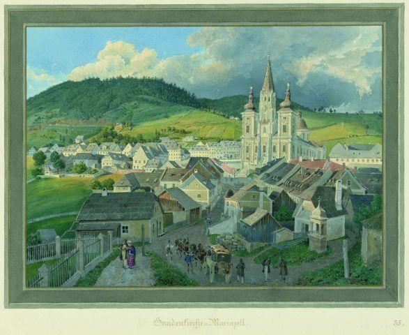 Eduard Gurk, Mahlerischen Reise von Wien nach Maria Zell, Blatt 35, Gnadenkirche Mariazell, 1833; Aquarell, 32,5 x 42,5 cm; Inv. Nr. KS-6536-35.