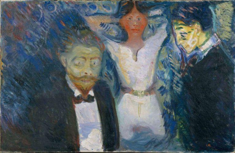 Edvard Munch, Eifersucht / Jealousy, 1913, Öl auf Leinwand / Oil on canvas, 83,5 x 130 cm, Städel Museum, Frankfurt am Main, Leihgabe aus einer Privatsammlung, Photo Credit: © Städel Museum - ARTOHEK.
