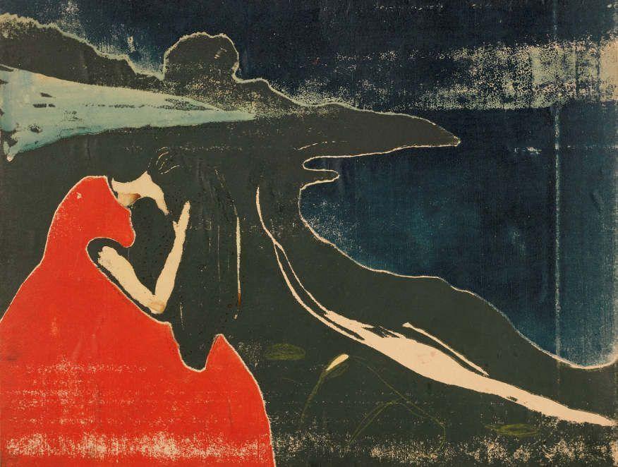 Edvard Munch, Melancholie II, 1898, Holzschnitt, handkoloriert, Privatsammlung Courtesy Galleri K, Oslo © Reto Rodolfo Pedrini, Zürich.